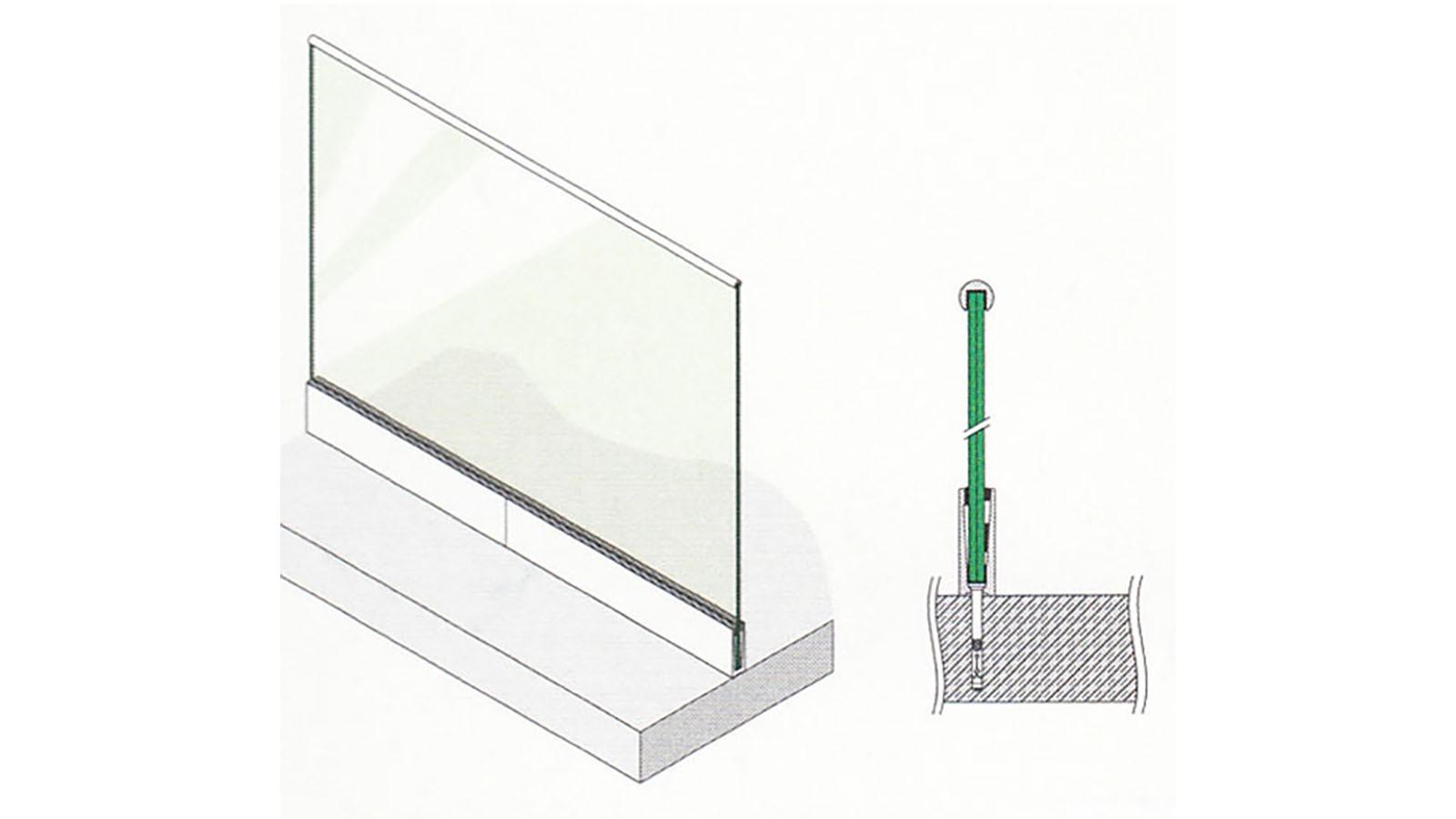ganzglasgel nder alu bodenprofil bodenmontage aluminium l 2 5m silber eloxiert f r 56 65. Black Bedroom Furniture Sets. Home Design Ideas