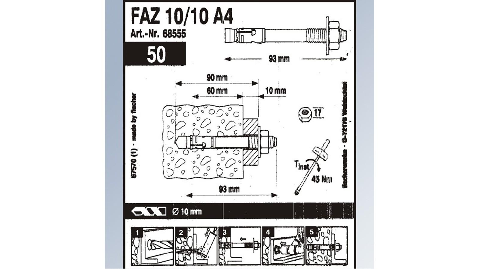 fischer ankerbolzen faz ii aus edelstahl v4a f r 3 51. Black Bedroom Furniture Sets. Home Design Ideas