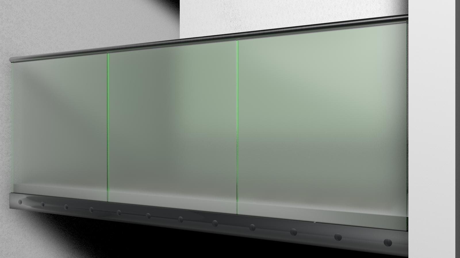 ganzglas gel nder i form ohne ecke seitliche montage edelstahl handlauf aus rohr 42 4 mm. Black Bedroom Furniture Sets. Home Design Ideas