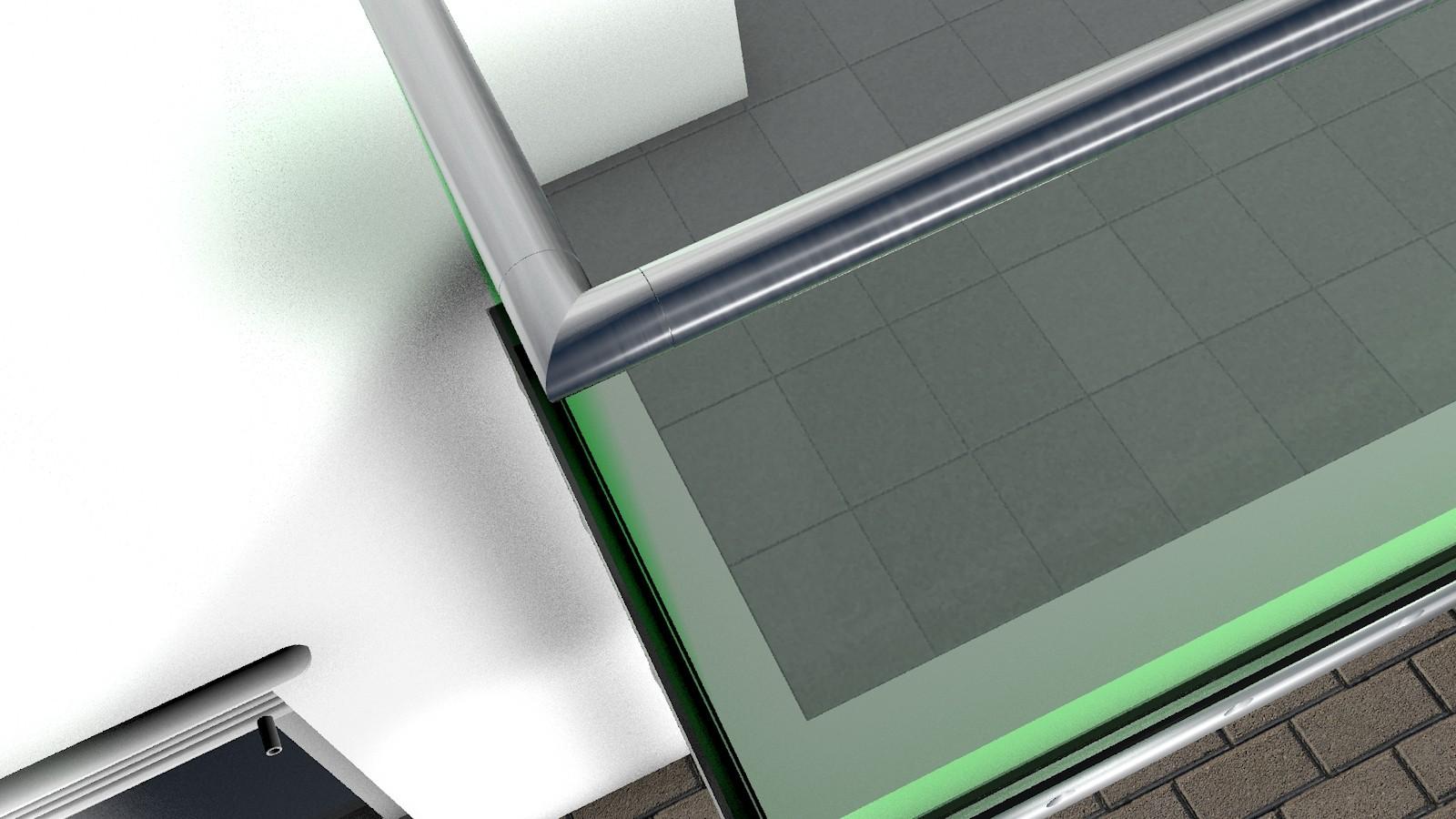 ganzglas gel nder u form 2x90 ecken seitliche montage edelstahl handlauf aus rohr 42 4 mm. Black Bedroom Furniture Sets. Home Design Ideas
