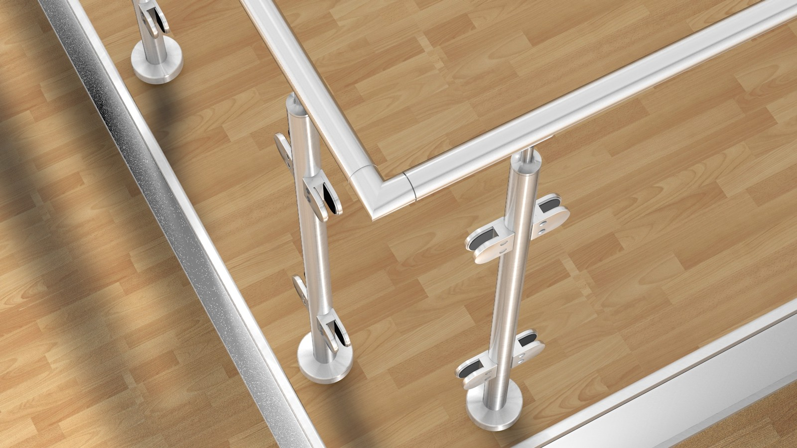 edelstahl glas pfosten gel nder bausatz u form 2x90. Black Bedroom Furniture Sets. Home Design Ideas