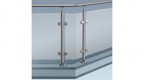 edelstahl glas pfosten gel nder baus tze aufgeschraubte montage g nstig zur selbstmontage. Black Bedroom Furniture Sets. Home Design Ideas