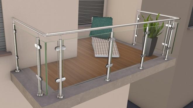 edelstahl glas pfosten gel nder mit klarglas. Black Bedroom Furniture Sets. Home Design Ideas