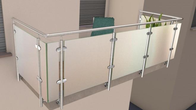 edelstahl glas pfosten gel nder mit milchglas. Black Bedroom Furniture Sets. Home Design Ideas