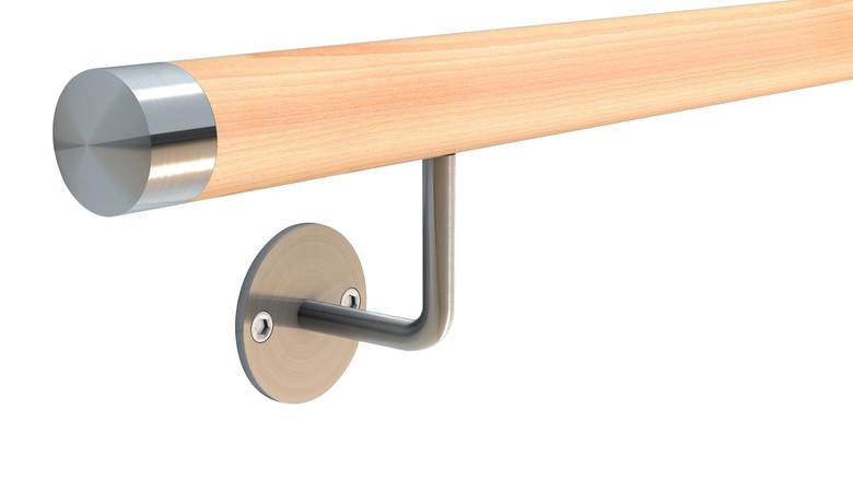 150 cm L/änge mit 3 Haltern und Endst/ück Buche Handlauf Treppen Gel/änder Handl/äufer 30-500 cm aus einem St/ück mit Halter St/ützen Tr/äger und bearbeiteten Enden Halbrunde Edelstahlkappe