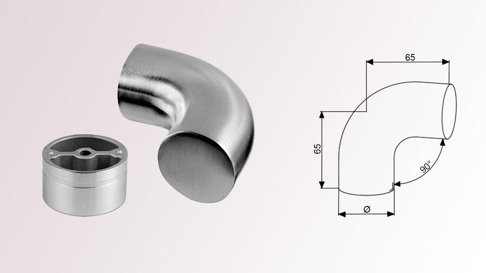 V2A Edelstahl Gelenkbogen I für Ø 42,4 x 2,0 mm  Bogen