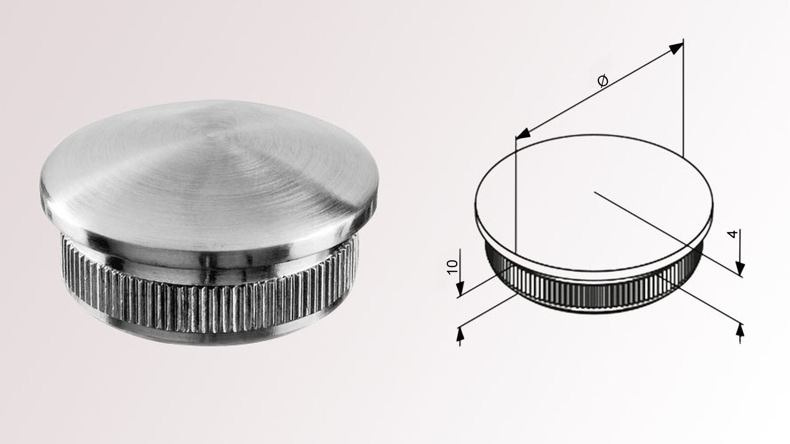 Handlauf Endstück für Rohr 33,7 x 2,0 mm V2A