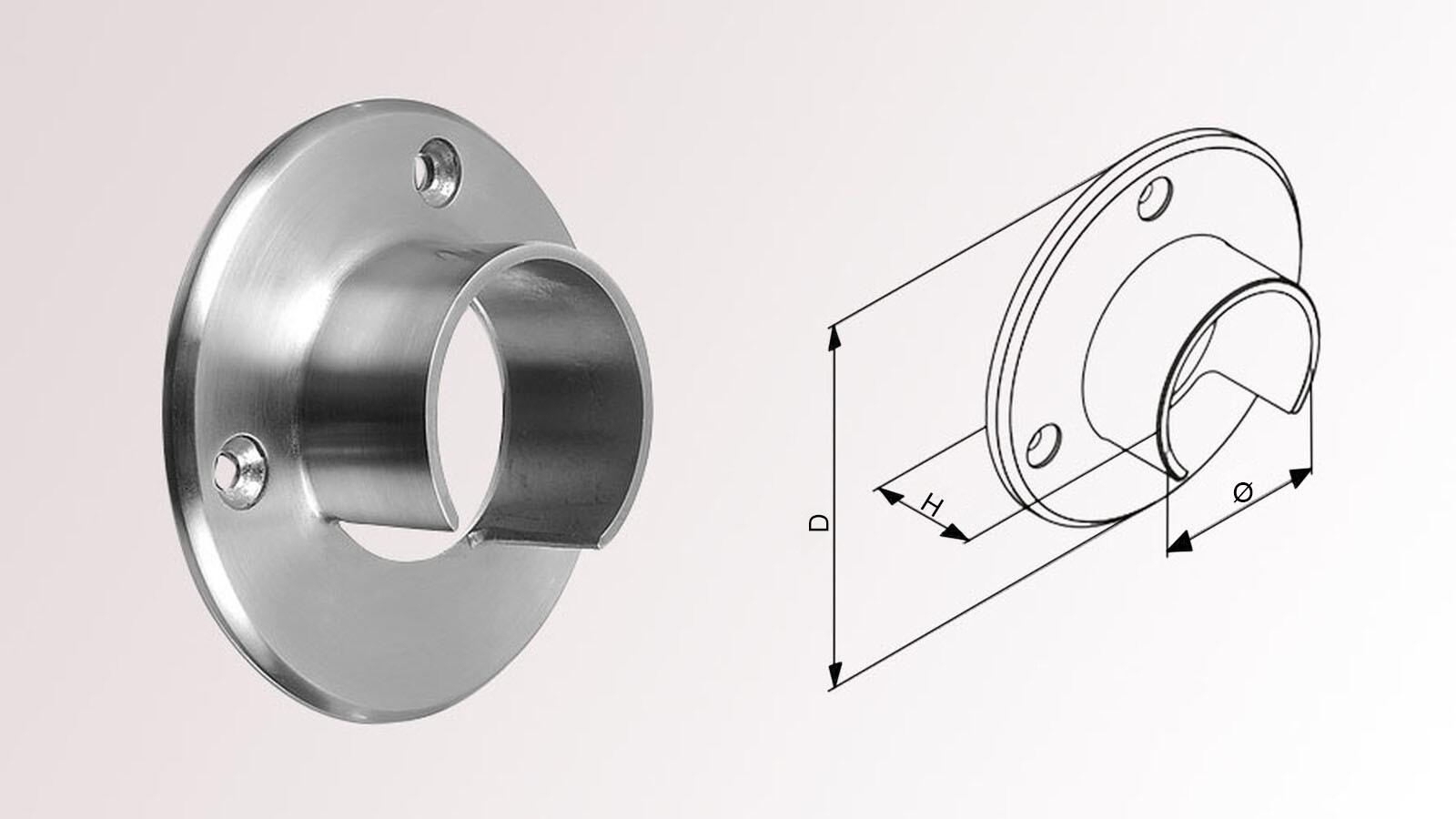 Edelstahl Glasleistenrohr Rohr Verbinder 48,3 x 1,5