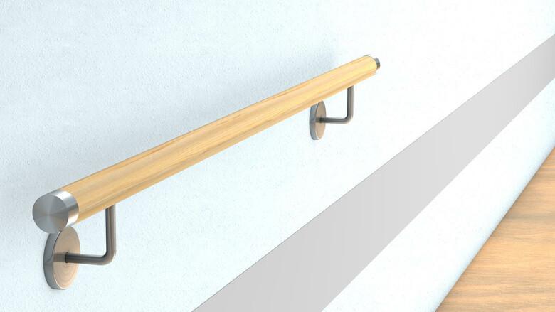 Eiche Gel/änder Handlauf Set Bausatz mit gewinkelte Halter verschiedene Endst/ücke Enden =Holzkr/ümmling L/änge 30-500 cm aus einem St/ück//zum Beispiel L/änge 220 cm mit 3 Halter